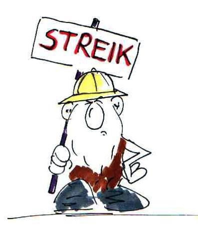 Kalle Keule Streikposten.  Cartoonboerse Blog Streik Cartoon